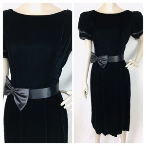 VTG Lanz Black Velvet Tiered/Puff Sleeve Dress